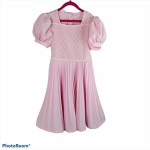 Vintage Girls size 7 Pink Gingham Pleated Dress
